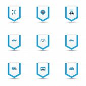 Automobile Icons Colored Set With Auto, Wheelbase, Truck And Other Speedometer Elements. Isolated  I poster
