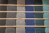 Clothes Displayed In Store. Copy Spase For Text. Lot Warm Sweaters Of Different Color Are Neatly Sta poster