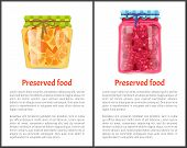 Preserved Food Poster Sliced Oranges And Raspberries Canned In Small Glass Container. Exotic Citrus  poster