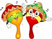 Mascot Illustration of a Pair of Maracas Wearing Mexican Costumes