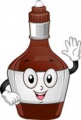 Mascot Illustration of a Chocolate Syrup Bottle Waving its Hands