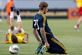 CARSON, CA - MARCH 14: David Beckham warms up before the CONCACAF match between the LA Galaxy and To