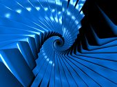 Fantasy Alien Blue Objects In Spiral Arrangement