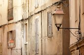 old lamp post in Bonifacio town, Corsica island, France