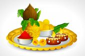 illustration of puja thali with holy festival object