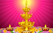 illustration of golden diya stand with flower decoration