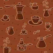 Seamless coffee pattern.