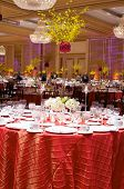 stock photo of flower arrangement  - Table setting at a luxury wedding reception