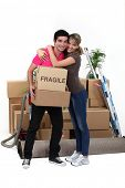 foto of concubine  - Young couple moving in together - JPG