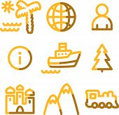 Travel Icons, Gold Contour Series poster