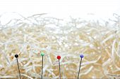 Four needles in front of a haystack, shallow DOF