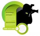 Green vector abstract background with photographer silhouette