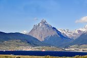 stock photo of tierra  - The Beagle Channel Patagonia Argentina develops between several islands - JPG
