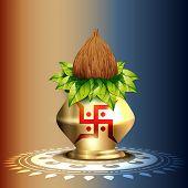 beautiful hindu worship kalash vector design