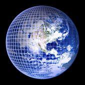 Earth Globe Blue Frame