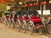 image of rickshaw  - Group of rickshaws in Arashiyama area Kyoto Japan - JPG