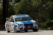 Pombal, Portugal - September 22: Armindo Neves Drives A Mitsubishi Lancer Evo Vii During Rally Centr