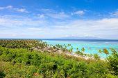 Beautiful coastal landscape at Moorea island in French Polynesia
