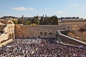 The most joyful holiday of the Jewish people - Sukkot. The Western Wall of the Jerusalem temple. The