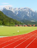 Running track under Berchtesgaden Alps. Berchtesgaden, Germany, Europe.