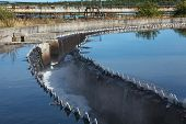image of sedimentation  - Drainage for clean water in sedimentation reservoir in sewage plant - JPG