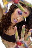 Female Model Showing Colorful Hands