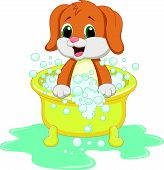 stock photo of washtub  - Vector illustration of Dog cartoon bathing isolated on white background - JPG