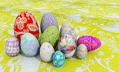 Easter Eggs On Table Cloth