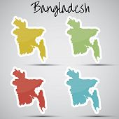 stock photo of bangla  - shiny vector stickers in form of Bangladesh - JPG