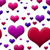 Pink Purple & Red Hearts