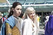 LONDON, UK - May 26: Lord of the Rings Elrond and Galadriel cosplayers outside the Excel Centre at the MCMExpo. May 26, 2013 in London.