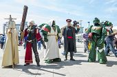 LONDON, UK - May 26: Warhammer cosplayers dressed as space marines and inquisitor posing outside the
