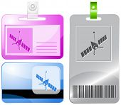Spaceship. Raster id cards.