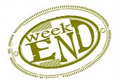 pic of oval  - Oval rubber stamp with the word Weekend - JPG