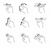 pic of finger-painting  - Simple touch pad gestures icons isolated on white - JPG
