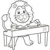 picture of organist  - Cartoon lion playing an electronic organ - JPG