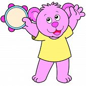 Cartoon Bear Playing A Tambourine