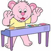 stock photo of organist  - Cartoon Bear playing an electronic organ - JPG