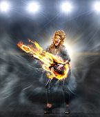 woman is playing rock music on fiery guitar and singing