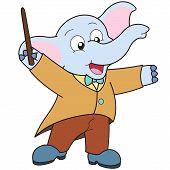Dibujos animados elefante música Conductor.