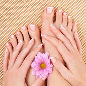 foto of fingers legs  - care for beautiful woman legs - JPG
