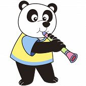 Cartoon Panda Playing A Clarinet