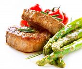 stock photo of white asparagus  - Grilled Beef Steak Meat with Asparagus and Cherry Tomato - JPG