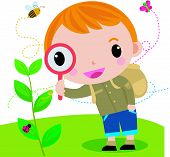 Boy with magnifying glass with lady bugs over
