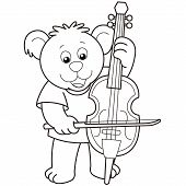 Cartoon Bear Playing A Cello