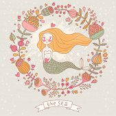 pic of mermaid  - Cute vector background with beautiful mermaid in flowers with place for text - JPG
