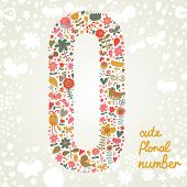 The number zero. Bright floral element of colorful alphabet made from birds, flowers, petals, hearts