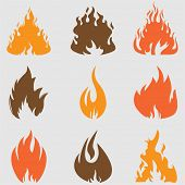 Fire icons set. Vector