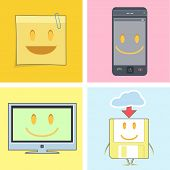 Set Of Cute Icons. Postit, Phone, Tv, And Diskette