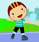 Cute little boy riding roller skates